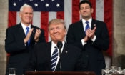 President Trump, flanked by Vice President Pence (left) and House Speaker Paul Ryan, at a 2017 speech to Congress. (© AP Images)